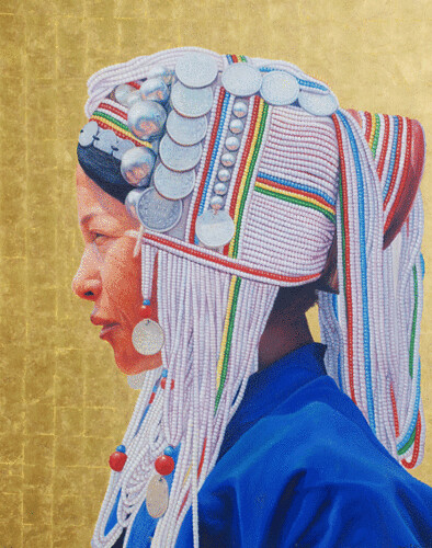 Hill Tribe of Myanmar series 5, by Tin Win, mixed media, 90x120cm
