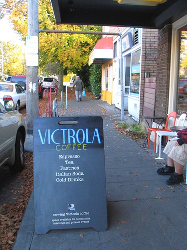 I walked down to Victrola, where, since last week, they have repainted their sign with their new name.