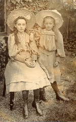 Edwardian sisters in straw hats (lovedaylemon) Tags: hat vintage garden found child image straw edwardian