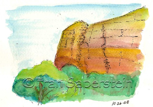 Pen & Ink with Watercolor Drawing of View from Sedona Community Center Bench