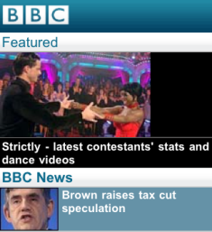 BBC Mobile homepage