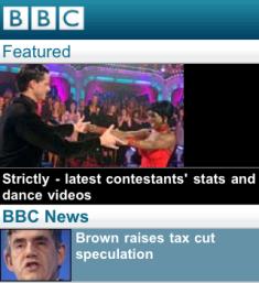 BBC Mobile homepage