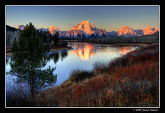 Oxbow Morning (James Neeley) Tags: mountains nature sunrise landscape bravo searchthebest mountmoran tetons grandteton hdr oxbow grandtetonnationalpark naturesfinest gtnp oxbowbend 5xp impressedbeauty jamesneeley