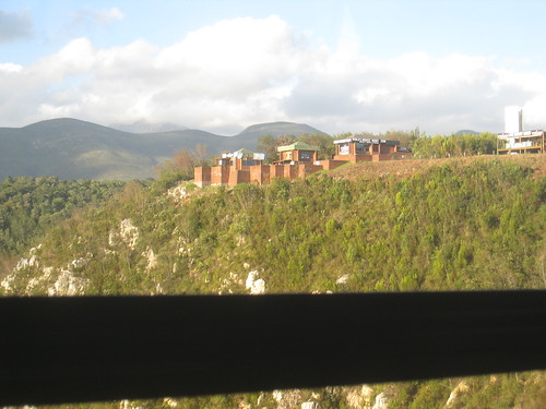 View of the bungy jump office from Bloukrans Bridge