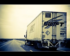 Interstate 70, Utah (Chrispz) Tags: road summer hot truck canon utah highway traffic desert empty straight vanishing 70 interstate70 eos40d swifttruck