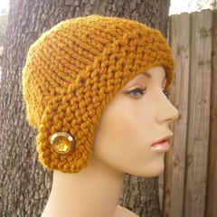 Chunky Cloche Hat in Butterscotch with Vintage Button