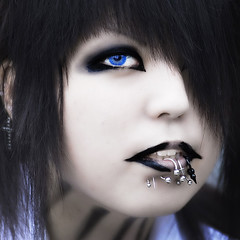 just like the others (ajpscs) Tags: street blue portrait black eye face fashion japan metal hair asian japanese tokyo nikon asia different jewelry lips harajuku trendy  pierce nippon  trend d100 hairstyle groovy  contactlens  individualism beingalive ajpscs lamode