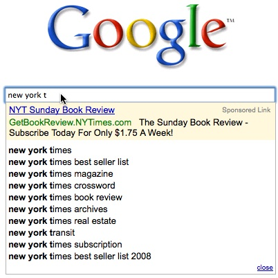 New York Times Ad In Google Search Suggest