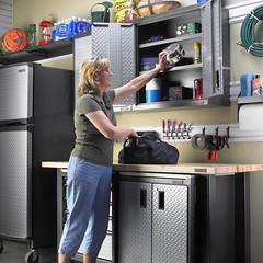 Gladiator Idea Gallery: Create Cabinet Space (Gladiator GarageWorks Products) Tags: garage tools storage snacks items shelves cabinets gladiator gladiatorgarageworks