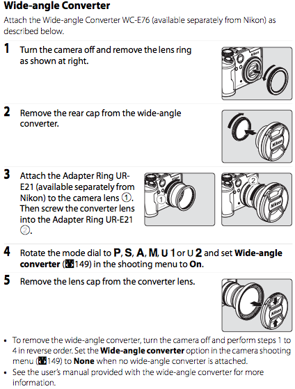 Using the WC-E76 converter and UR-E21 adapter ring, as documented on page 179 of the Nikon P6000 manual