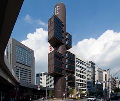 SHIZUOKA PRESS AND BROADCASTING CENTER, TOKYO: Kenzo Tange, Tokyo, Jan. 1968 (wakiiii) Tags: japan architecture tokyo nikkor 建築 f4 1224 s5 s5pro nikkor1224mmf4gifed