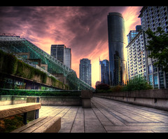 Vancouver Through a Colored Lens (ecstaticist) Tags: wood sky cloud canada tree glass stone wall vancouver canon court bench columbia line explore british law frontpage hdr photomatix syscraper tonemapped tonemapping g10