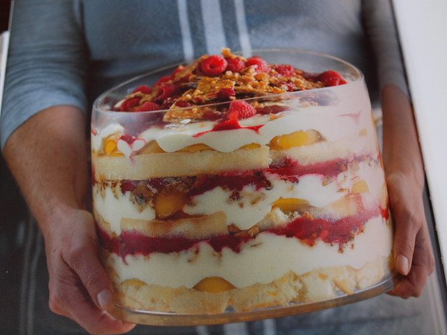 peach, raspberry and marscapone trifle