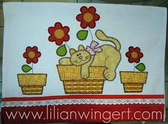 PANO DE PRATO GATO (Lilian Wingert - Artesanato e Patchwork.) Tags: