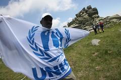 Hike to Vitosha Mountain (UNHCR Central Europe) Tags: mountain man flag refugee refugees hike celebration event bulgaria unhcr mountainhike centraleurope worldrefugeeday 20june wrd chernivrah  vitoshamountain  unhcrbulgaria