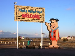 'Yabba Dabba Doo means Welcome' - Welcome Sign on the highway leading to the Grand Canyon, outside the tourist stop at Bedrock City, Arizona - bedrock02x