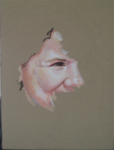 In progress photo of colored pencil portrait entitled Jan.