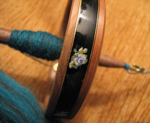 enamel ring - blue rose detail