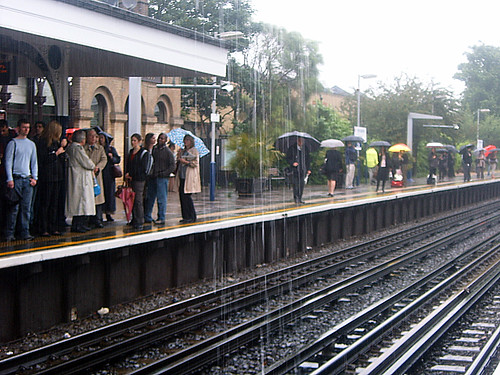 Kew Gardens Station in the rain