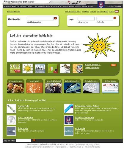 Página Web de la Biblioteca Pública de Aarhus en Dinamarca