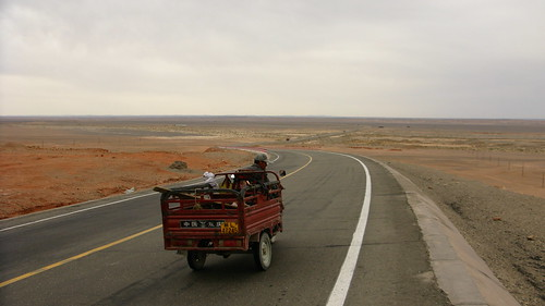 Big desert scenery on National Highway 312 from Lotojue to Xinxinxia, Xinjiang Province, China
