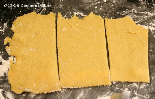 Spinach Ravioli: Semolina Dough Cut Into Strips