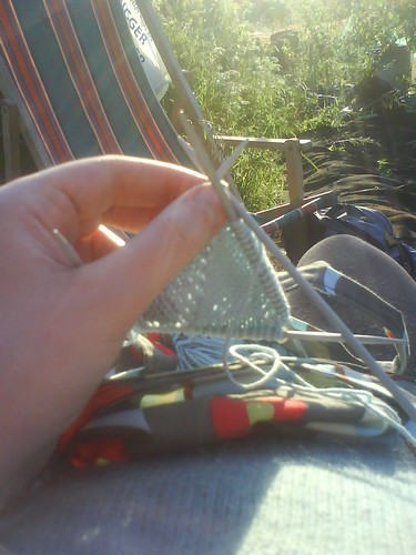 Knitting at the allotment