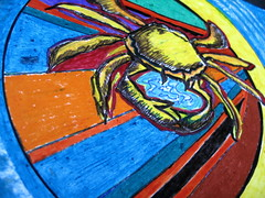 Hello, Cancer!, detail of Ode To A Crab mandala created from a blank circle, June 2008, Minneapolis, Minnesota, photo © 2008 by QuoinMonkey. All rights reserved.