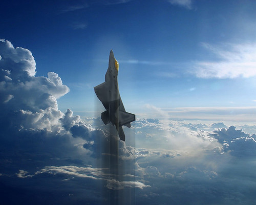Fighter airplane picture - Climbing F-22 Raptor