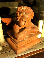 Iron Cherub (Dominic's pics) Tags: red orange sun film window evening wooden rust iron brighton gothic rusty kitsch spooky cherub novel glowing mansion ornate range stephenking eastsussex addamsfamily kemptown s