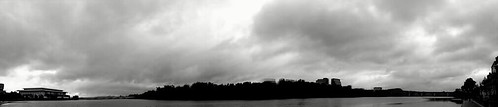Clouds Over Potomac River, B/W panorama