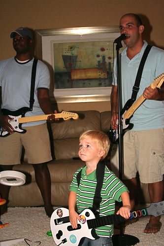 Playing Rockband with Karl and Tommy