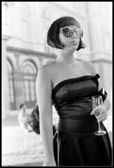 Marta (Zio Bill) Tags: bw woman beauty sunglasses fashion donna dress champagne moda marta bianco nero elegante spumante eleganza