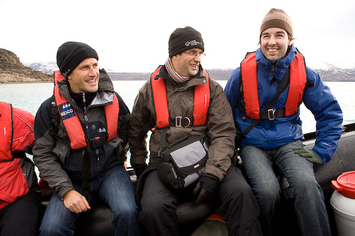 Joe Smith, Marcus Brigstocke and David Noble boarding the Grigory Mikheev in Kangerlussuaq