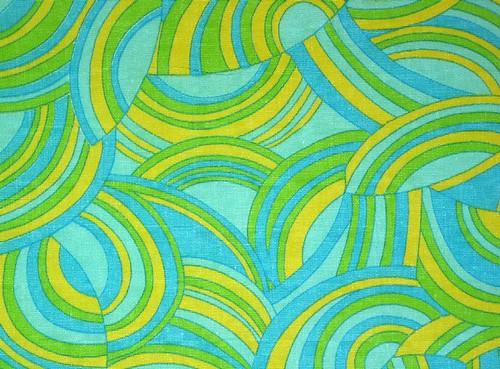 "Vintage 36""W Fabric Aqua Teal MOD Swirls"