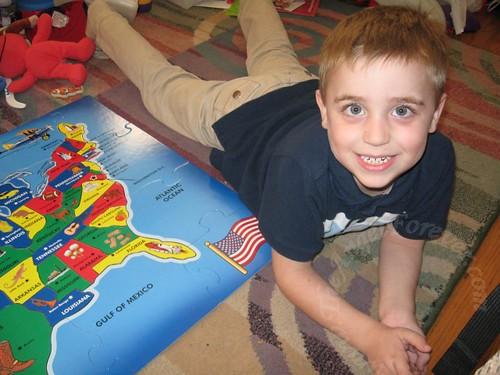 Proud puzzle boy