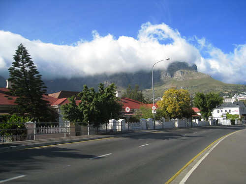 My first view of a cloud-shrouded Table Mountain