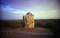 'Motherhood' at dusk. (lxsocon) Tags: dusk australia lomolca nsw motherhood brokenhill fujisuperia200 sculpturesymposium