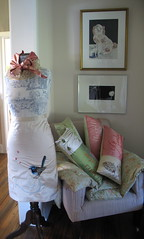 A corner of my dining room with my cushions and cothing, 2008 (Tara Badcock) Tags: home artwork interiors embroidery interior curtain objects skirt textile curtains textiles cushion myhome cushions artworks chezmoi teacosy australianartist tasmanianartist homewares handembroidery personalobjects objetstrouve tarabadcock embroideredtextiles treacosies framedartworks