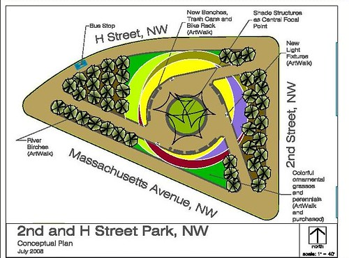 Rendering for proposed improvements to park at 2nd, Mass and H