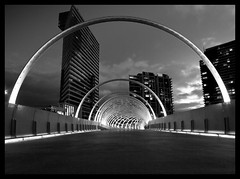 Worm Hole (Big Skinny Boy) Tags: city bridge urban bw architecture night canon river cityscape sigma australia melbourne wideangle victoria yarra docklands webb cityview webbbridge sigma1020 gorillapod 400d canon400d