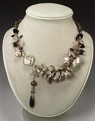 Wintergarden (jbEbert) Tags: brown glass silver necklace frost gray jewelry mauve pearl sterling etsy platinum gem smokeyquartz assymetrical chalcedony jbebert