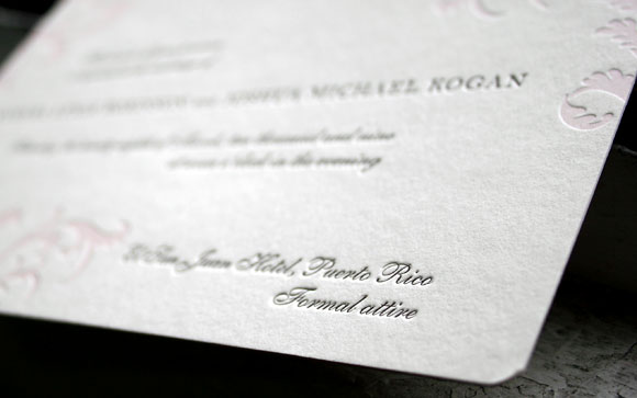 Vettore letterpress wedding invitation - Smock