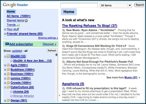 Google Reader Screen Shot