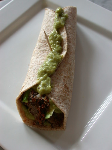 "Vegan burrito with black bean ""meat"""