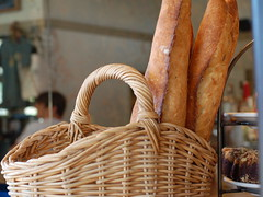Baguettes (soon to be mine) at Blue Dog Bakery and Cafe