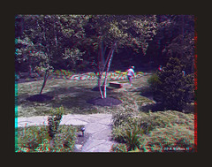 Party Time (starg82343) Tags: party man male guy garden outside outdoors person perception stereoscopic 3d anaglyph stereo illusion depth horseshoes stereoscopy stereographic