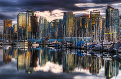 sailing boats (Harry2010) Tags: ocean cloud canada reflection skyline vancouver coast boat britishcolumbia sail coalharbour