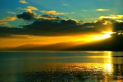 stunning mountain sunset loch Iinni (i10001000) Tags: blue light sunset sky mountains nature clouds landscape gold scotland heaven like just stunning loch sunbeams