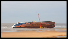 Riverdance Stranded Cleveleys UK (Dave F Barker) Tags: uk sea irish beach ferry river boat dance ship northwest crane vessel cargo lancashire shipwreck beached salvage stranded blackpool cleveleys capsized runaground shipwrecked refloat ranaground